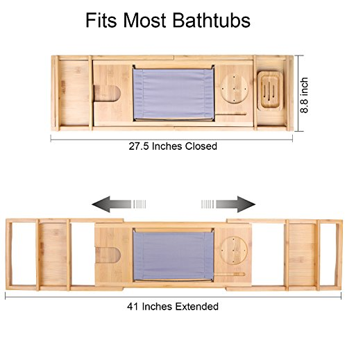 TDYNASTY DESIGN Bathtub Caddy Tray,Bamboo Wood Luxury Bath Rack Shower Organizer Tablet Holder,Cellphone Tray,Wine Glass Slots,Non-Slip Grip Soap Holder by TDYNASTY DESIGN (Image #2)