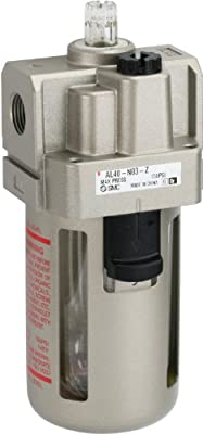 "SMC AL40-N03-Z Lubricator, Polycarbonate Bowl, without Drain Cock, 135 mL Oil Capacity, 40 L/min Dripping Flow Rate, 3/8"" NPT"