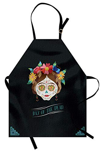 (Ambesonne Day of The Dead Apron, Hispanic Holiday La Calavera de la Catrina Inspired Hairstyle and Make, Unisex Kitchen Bib Apron with Adjustable Neck for Cooking Baking Gardening,)