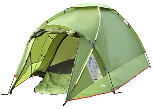 MoKo Waterproof Family Camping Tent, Portable 3 Person Outdoor Instant Cabin Tent, 4-Season Double Layer Dome Tent Sun Shelter for Hiking, Backpacking, Trekking, Mountaineering, Beach – Green