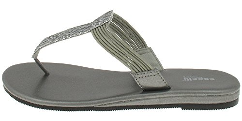 Capelli New York Textured faux leather thong Ladies Flip Flop Grey t098Uww3ox