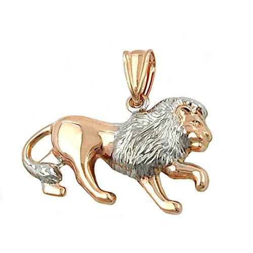 Lion 9Kt bicolor pendentif or de 375