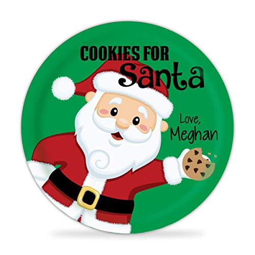 Personalized Santa Plate - Cookies for Santa, Christmas Dinner Plate, Green Holiday Santa Melamine Plate