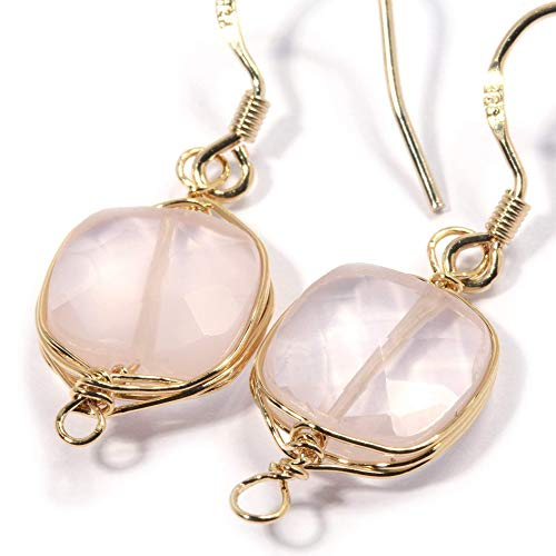 Natural Stone Wire Wrap Dangle Drop Earrings Gold Plated 925 Sterling Silver Hook/Rose Quartz Square