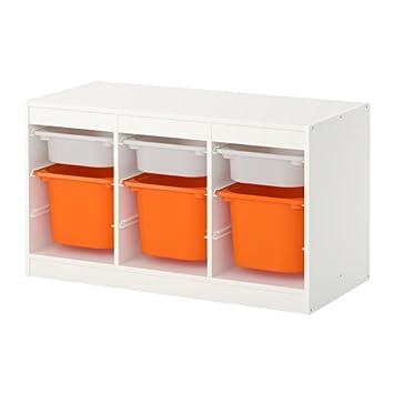 IKEA TROFAST - Storage combination with boxes White/orange: Amazon ...