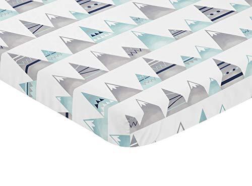 Sweet Jojo Designs Navy Blue, Aqua and Grey Aztec Baby Fitte