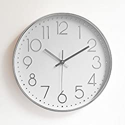 Foxtop Modern Large Decorative Silent Non-ticking Wall Clock with Sweep Quartz Movement - 12 Universal Indoor Outdoor Wall Clocks - Silver Plastic Frame Glass Cover (Silver)