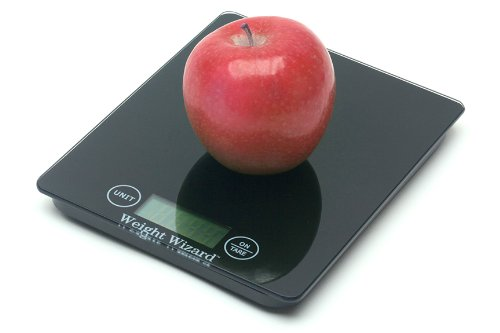 Food Scale By Weight Wizard-Contemporary Elegant Black Kitchen Scale - Tempered Glass Digital Kitchen Scale