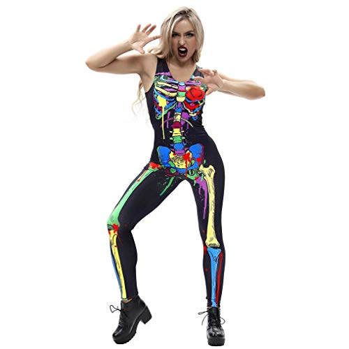 XILALU Women's Novelty Bone Skeleton Blood 3D Print Jumpsuit, Halloween Sleeveless Slim Party Outfits Costumes -