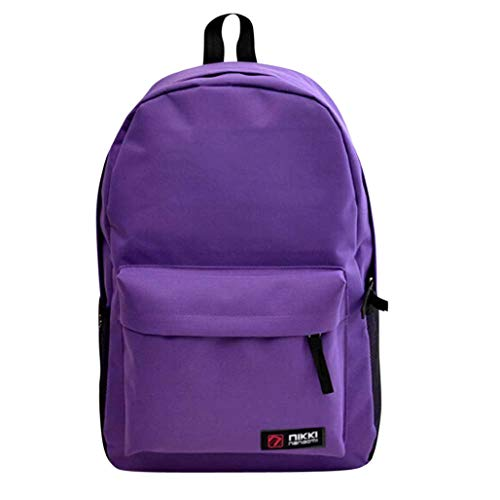 Price comparison product image Outsta School Double Shoulder Backpack,  Women Men Student Backpack Handle Bag Oxford Daypack Travel with Bottle Side Pockets Multicolor (Purple)