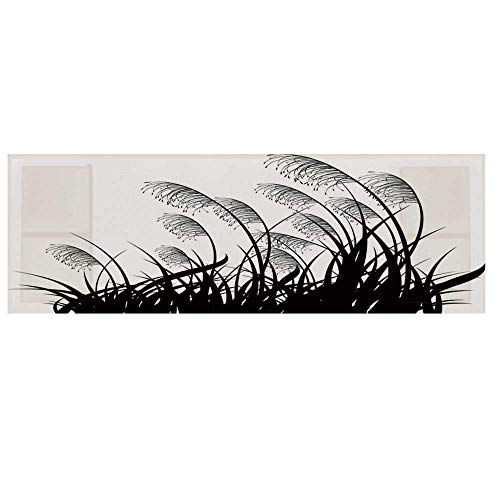 Black and White Cotton & Linen Microwave Oven Protective Cover,Silhouette of Bushes Wild Plants Wheat Field Twiggy Herbs Seasonal Picture Cover for Kitchen,36
