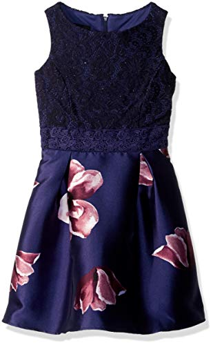 - Amy Byer Girls' Big Sleeveless Party Dress with Box Pleats, Navy/Wine Stained Floral, 14