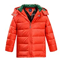 Hiheart Boys Girls Hooded Winter Quilted Down Coat Fleece Lined Puffer Jacket Orange 9/10