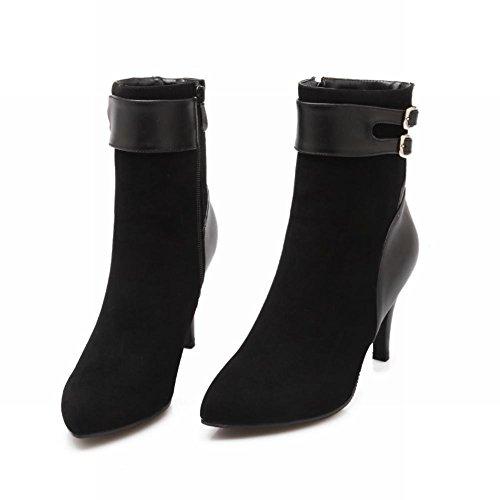Chic Pointed Carolbar Toe Black Dress Heel High Boots Buckle Women's Elegant p441fqwxPB