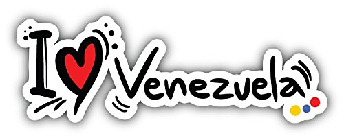 I Love Venezuela Travel Slogan Art Decor Bumper Sticker 6'' x 2'' -