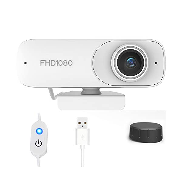 1080P PC Webcam with Microphone for DesktopHD Streaming USB Computer Webcam Plug and Play Autofocus