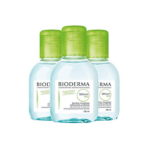Bioderma Sébium H2O Purifying Micellar Cleansing Water and Makeup Removing Solution for Combination to Oily Skin - 3 x 3.3 FL.OZ.