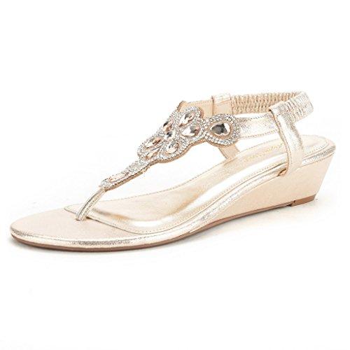 43453c2c74 Dream Pairs Women's Pershian Rhinestone Low Wedge Heel Sandals
