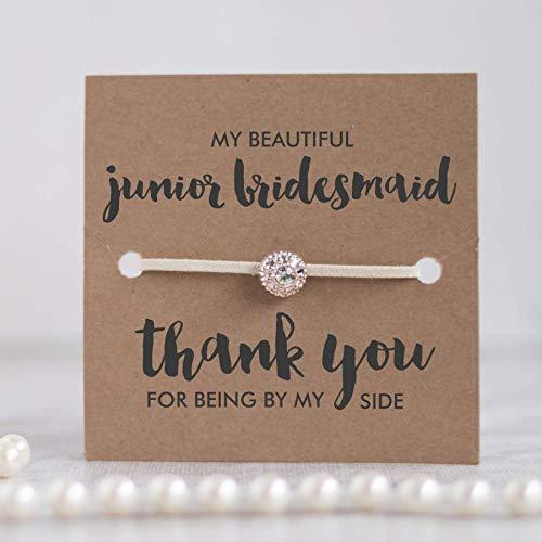 Junior bridesmaid thank you gifts, Junior bridesmaid gifts from bride, Junior bridesmaid card,Ivory]()
