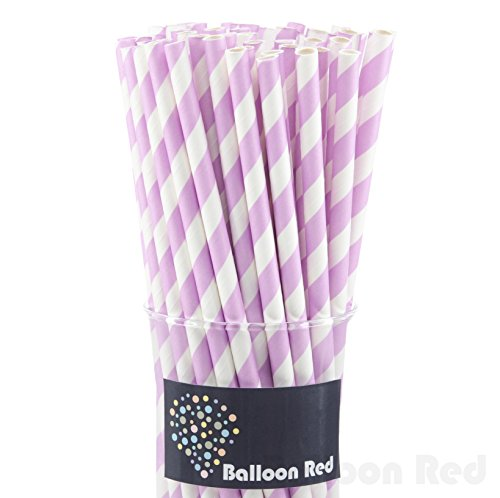 Biodegradable Paper Drinking Straws (Premium Quality), Pack of 50, Striped - Lavender (Lavender Paper Straws)