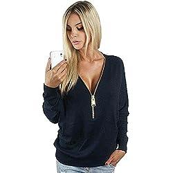 Deep V Zipper Shirt,Hemlock Women Loose Pullover Sweatshirt Blouse Tops (L, Black)