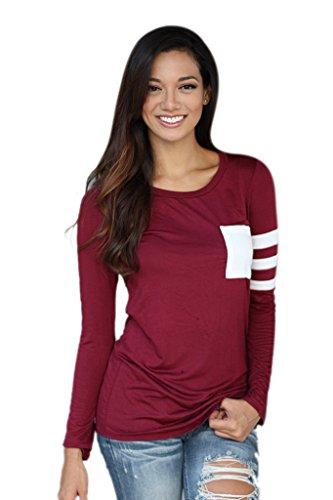 Taille Femme Longues Rouge Tops Coton Acvip shirt T Blouse Rond Chemise Col Manches En Unique 767Znp