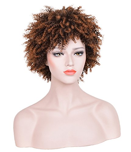 CosHouse Costume Wigs 12 Inch Black Synthetic Afro Curly Wig for (Coshouse Costumes)