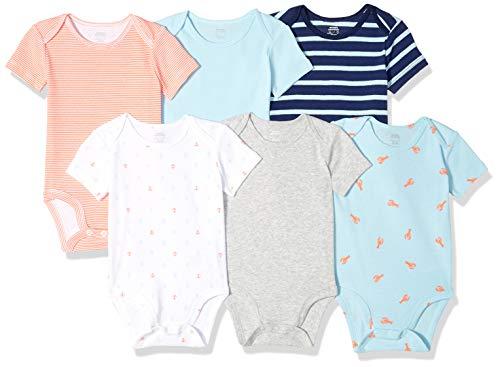 Amazon Essentials Baby 6-Pack Short-Sleeve Bodysuit, Boy Nautical, 6-9M ()