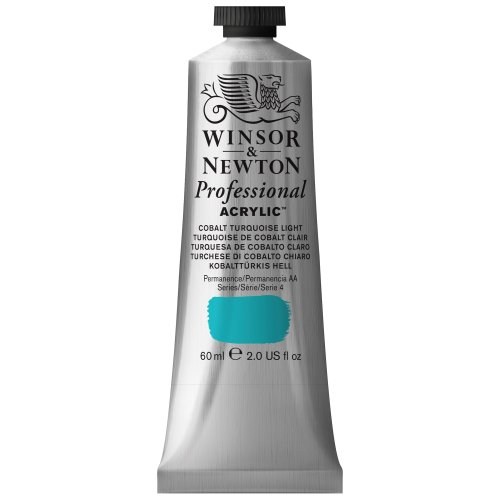 Winsor & Newton Professional Acrylic Color Paint, 60ml Tube, Cobalt Turquoise Light - Light Turquoise Color