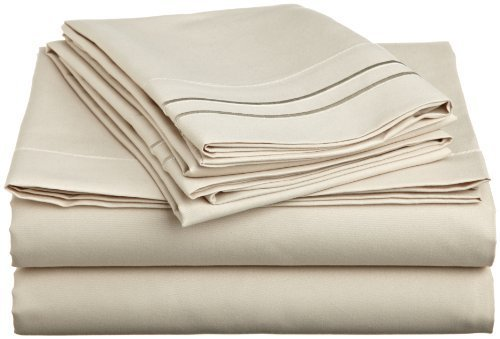 Luxury Soft Microfiber Califonia King Sheet Set with Embroidered Pillow Case, Cream
