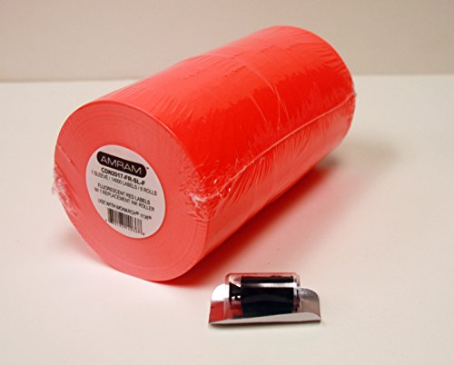 Amram 2 Line 20x17 Fluorescent Red Pricing/Marking Labels, 1 Sleeve of 8 Rolls/14,000 Labels. Includes 1 Free Ink Roll Replacement. Labels & Ink roller compatible w/Monarch 1136.