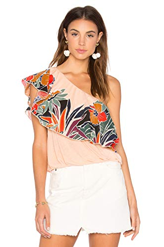 Free People Annka Bubble One-Shoulder Top (Peach, Small) from Free People