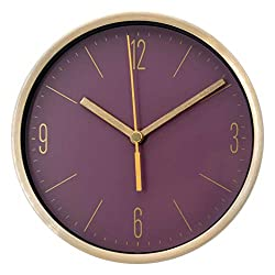 COMODO CASA Wall & Desk Clock- Metal Gold Frame-Glass Cover-Non Ticking-Quartz Sweep-Silent 6 inch Modern Clock (Purple)