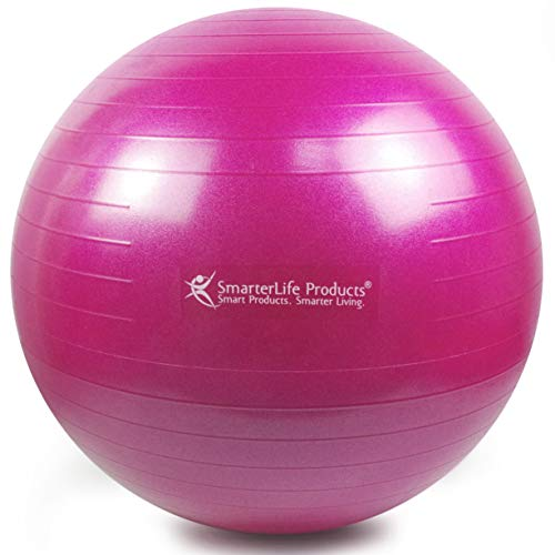 Exercise Ball for Yoga, Balance, Stability from SmarterLife - Fitness, Pilates, Birthing, Therapy, Office Ball Chair, Classroom Flexible Seating - Anti Burst, No Slip, Workout Guide (Fuchsia, 55 cm) by SmarterLife Products (Image #1)