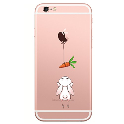 Matop Compatible for iPhone 6/6S Case Flexible Soft Transparent TPU Silicone Skin Scratch-Resistant Premium Anti-Slip Shockproof Cute Back Cover for iPhone 6/iPhone 6S 4.7 inch (Rabbit ()