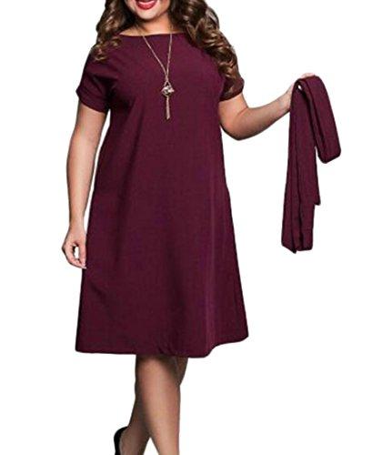 Les Femmes Cromoncent Couleur Unie, Plus La Taille De La Mode Été Ceinturée Élégant Bat Son Vin Rouge Robe Longue