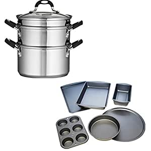 Tramontina 18/10 Stainless Steel 4-Piece 3-Quart Steamer/Double-Boiler and BakerEze 6-Piece Non-stick Bakeware Set