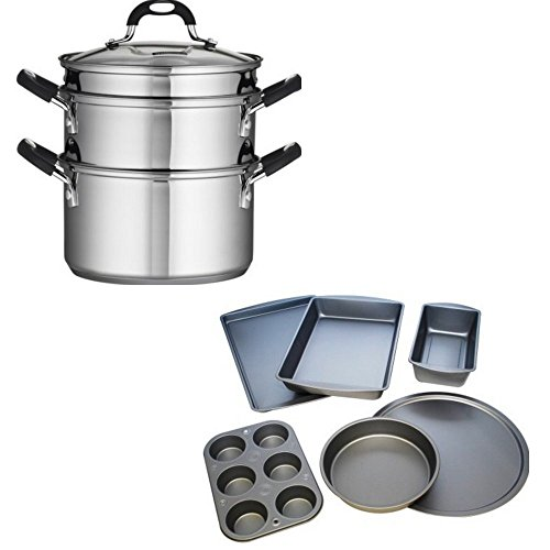 Tramontina 18/10 Stainless Steel 4-Piece 3-Quart Steamer/Double-Boiler and BakerEze 6-Piece Non-stick Bakeware Set