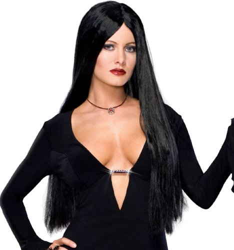 Costumes Morticia Addams Family (Secret Wishes  Costume The Addams Family Deluxe Morticia Wig, Black, One)