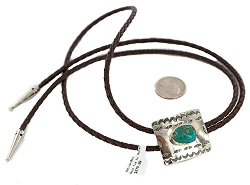 $280 Tag Handmade Authentic Feather Navajo Leather Nickel Natural Turquoise Native American Bolo Tie