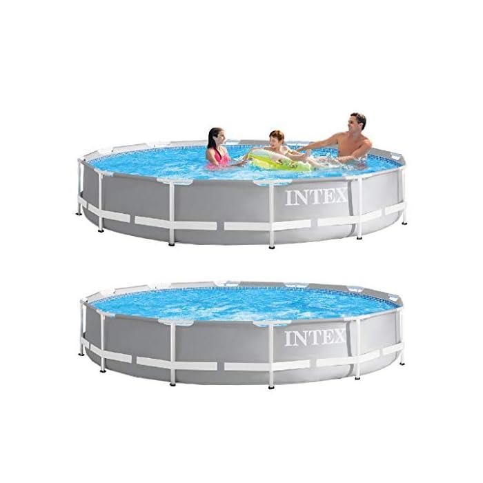 Piscina redonda sobresuelo Prisma Frame INTEX, medidas piscina: 366 x 76 cm y capacidad: 6.503 litros Incluye depuradora de cartucho A con capacidad de filtración de 2.006 litros/hora (conexión de 32 mm) Estructura resistente de piezas tubulares en acero pintado de epoxi y tapón de vaciado con conexión a manguera de jardín