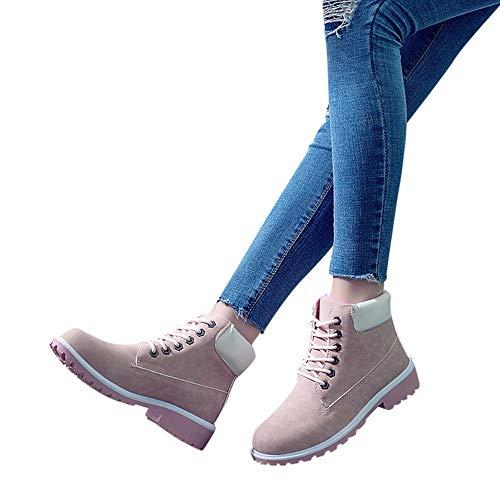 Botines Y Cortas Redonda Con Cómodo Punta Elegante Ohq Botas Retro Tobillo Sólido Zapatos Invierno Moda Rosado Casuales Mujer Grueso Cordones dxwP1OqTn
