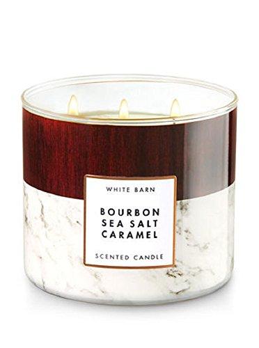 - Bath & Body Works White Barn Candle 3 Wick 14.5 Ounce Bourbon Sea Salt Caramel