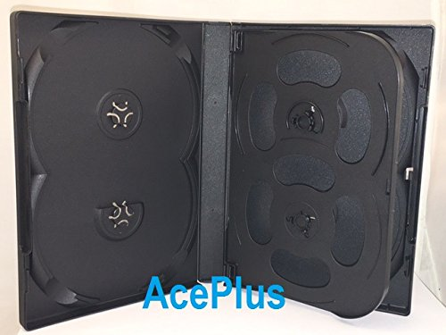 AcePlus DVD Case 22mm for 8 Discs Black 10 pieces