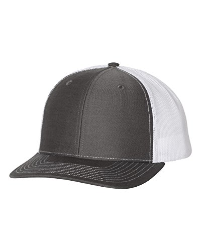 Richardson 112 Mesh Back Trucker Cap Snapback Hat, Charcoal/White
