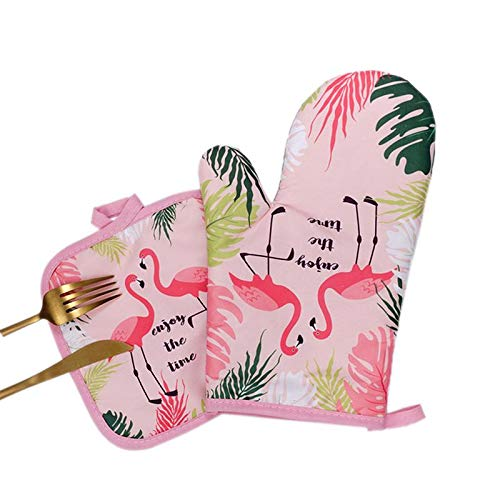 Cute Oven Mitt - 2019 1 Pair Cotton Fashion Flamingo Pad Cooking Microwave Baking Bbq Oven Potholders Mitts Gloves - Sleeves Potholder Flamingo Oven Rug Mitt Oven Bbq Mitten Oven Mitt Glov