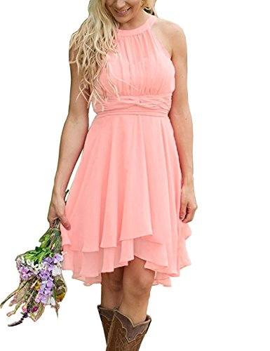 Meledy Women's Halter Country Short Bridesmaid Dress Chiffon Ruched Hi-Lo Maid of Beached Bridesmaid Dress Light Pink US0 Chiffon Ruched Halter Dress