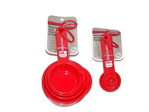Betty Crocker Measuring Cups & Spoons Red Plastic 8 PC Set