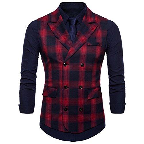 Décontracté Mariage Red Boutonnage Gilet Slim Simple Col Style Homme Carreaux Gilets Porter Plus De À Hommes En Taille V Fit Coupe Rouge 7AT4xw