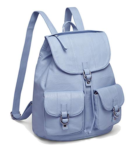 Backpack Purse for Women,VASCHY Fashion Faux Leather Buckle FlapDrawstring Backpack for College with Two Front Pockets Sky Blue